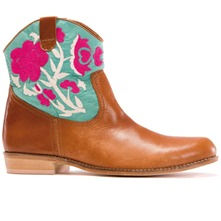 Women footwear: Aqua/Pink Embroidered Leather Cowboy Boots