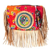 Women bags: Cream/Multicolour Beaded Fringe Clutch Bag