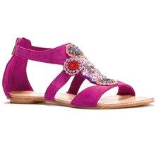 Women footwear: Fuchsia Beaded Spartan Suede Sandals