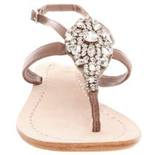 Women footwear: Cream Diamante Embellished Thong Sandals