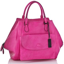 Women bags: Pink Leather Madame Pocket Handbag