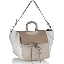 Women bags: Cream Leather SBox Handbag