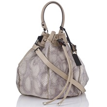 Women bags: Cream Python Skin Bucket Bag
