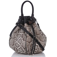 Women bags: White/Black Python Skin Bucket Bag