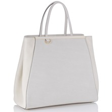 Women bags: Ivory Leather Oversized Handbag