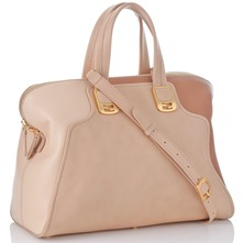 Women bags: Taupe/Beige Leather Panel Handbag