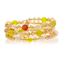 Bracelet jaune multi tour perles fantaisies