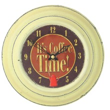 Horloge Cream Tin , Coffee Design 18.5 cm