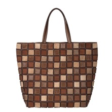 Mosaïque Nomade - Sac shopping - en cuir taupe
