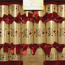 Set of Six Gold/Red Luxury Crackers