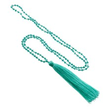 Turquoise ketting met turquoise pompon - turquoise