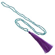 Turquoise ketting met paarse pompon - lichtpaars