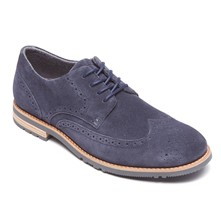 Derbies - aus blauem Leder