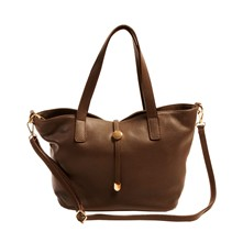Shopping bag in pelle - marrone scuro
