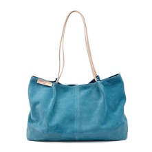 Sac à main femme cabas en cuir Made in France - bleu