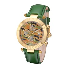 Hollywood Militaire - Reloj de cuero con 9 diamantes - verde
