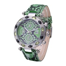 Exotic - Orologio in pelle con 9 diamanti - verde