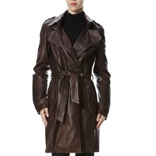 Brilliant - Trench en cuir - bordeaux
