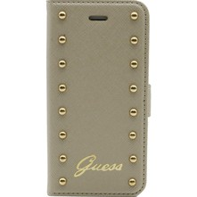 iPhone 5C - Coque clapet cloutée - beige