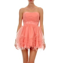 Abito baby-doll in tulle - pesca