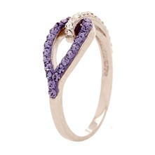 Jolie Boucle Violet - Anillo - Metal Plateado y Swarovski Elements