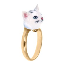Chat gris - Anillo - blanco