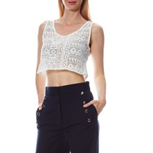 Crop top brodé - blanc