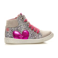 Mathilda - Sneakers con paillette in pelle - argento