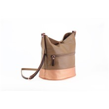 Basic - Leren bucket bag - koperkleur