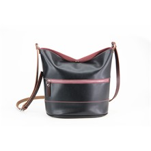 Ascetic - Leren bucket bag - zand / violline