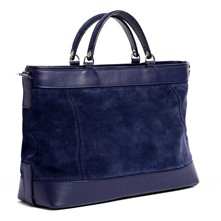 Shopping bag in pelle - blu jeans