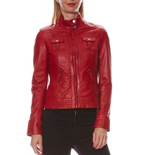 Begonia - Giacca biker in pelle - rosso