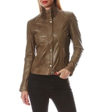 Hollywood - Veste biker en cuir - kaki