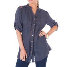 Blusa in lino - blu scuro