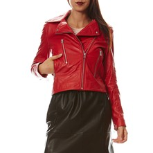 Giacca biker in pelle - rosso
