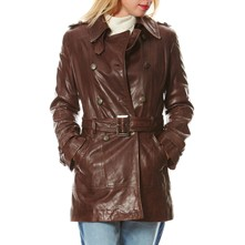 Trench in pelle - marrone