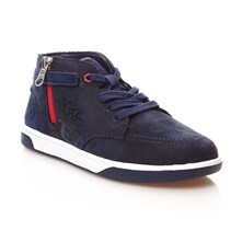 High Sneakers mit Lederanteil - marineblau