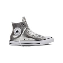 CHUCK TAYLOR ALL STAR HI SILVER/BLACK/WHITE - High Sneakers aus Leder - silberfarben