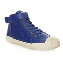 High Sneakers aus Leder - blau