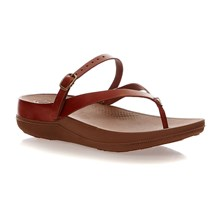 FLIP LEATHER SANDALS - Chanclas - camel