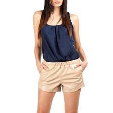 Short en simili cuir - beige