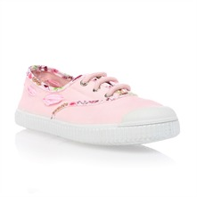 Kids Light Pink Lace Up Trainers
