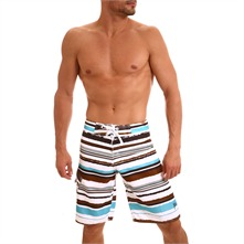 Boardshort blanc ray bleu et marron Michoko