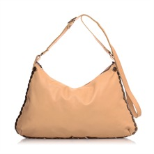 Sac  main en cuir beige