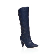 Blue Knee High Boots 9cm Heel