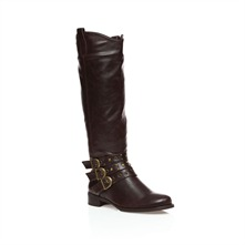 Brown Triple Strap Knee High Boots