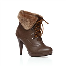 Taupe Ankled Fur Boots 11cm Heel