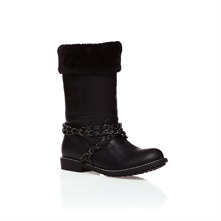 Black Calf Length Fur Boots