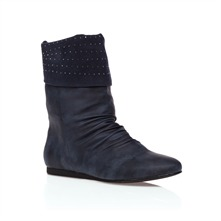 Blue Ruched Studded Ankle Boots