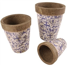 Set of Three White/Blue Round Scroll Ceramic Flower Pots
